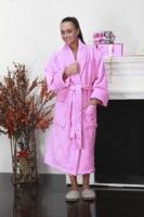 Женский махровый халат Ромашки (цвет: розовый)