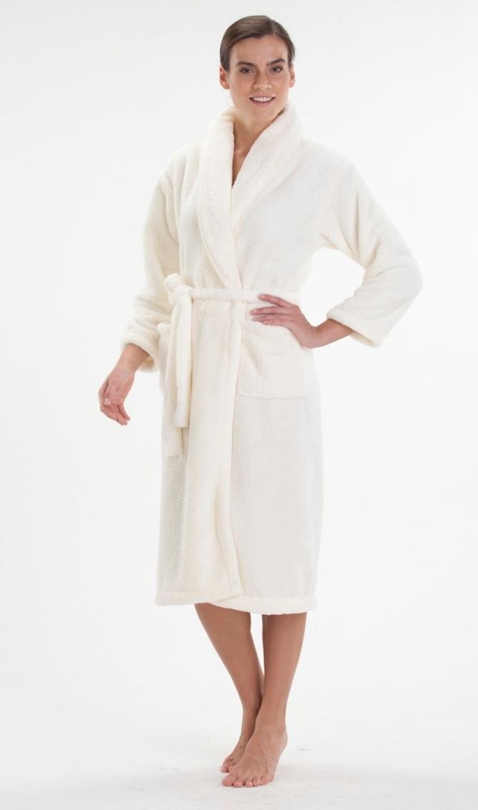 Легкий и пушистый халат из велсофта №800 нежно-кремовый