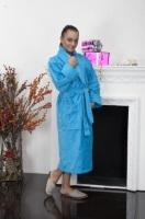 Женский махровый халат Ромашки (цвет: бирюза)