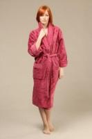 Женский махровый халат Розы (цвет: брусника)