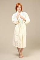 Женский махровый халат Ромашки (цвет: кремовый)