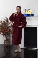 Женский махровый халат Ромашки (цвет: бордо)
