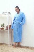 Женский махровый халат 701 Голубой