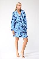Женский халат из велсофта № 801 голубой