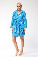 Женский халат из велсофта № 801 синий