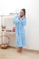Женский халат из велсофта № 800 голубой