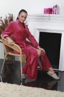 Удлиненный велюровый халат (802 брусника)