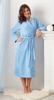 Удлиненный велюровый халат (802 голубой)