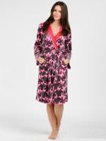 Женский велюровый халат (384 розовая бабочка)