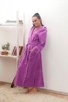 Женский велюровый халат с капюшоном (№803) Сирень