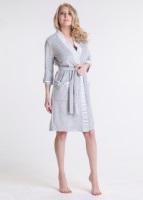 Женский велюровый халат (386 меланж-серый)