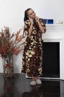 Женский велюровый халат 382 кремовые цветы