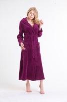 Женский велюровый халат с капюшоном (№803) Спелая вишня