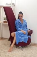 Женский велюровый халат с капюшоном (№803) Голубой