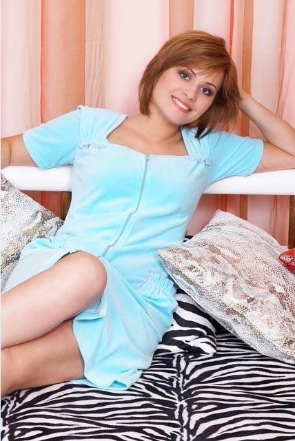 Женский велюровый халат 352 бирюзовый