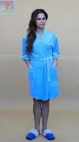 Велюровый халат 373 Кимоно-стразы голубой