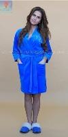 Велюровый халат 373 Кимоно-стразы синий