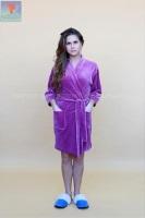Велюровый халат 373 Кимоно-стразы фиолетовый