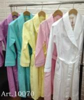 Бамбуковый вафельный халат с вышивкой (10070)- Экстра мягкость!