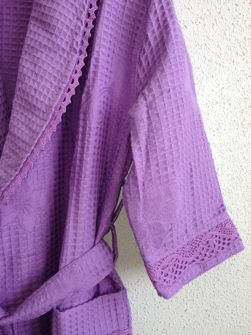 Вафельный халат с кружевом Лилия(сиреневый)