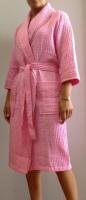 Вафельный халат с кружевом Лилия(нежно-розовый)