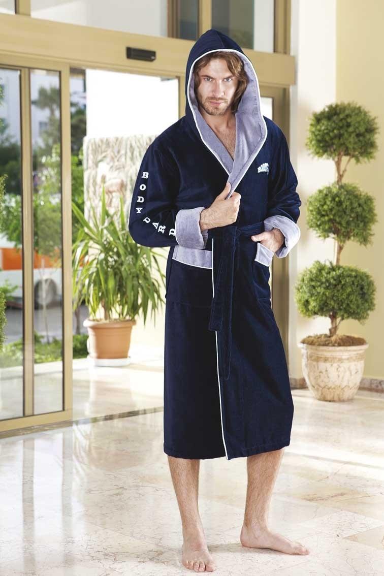 Мужской махровый халат с капюшоном NS 7040 BODYGUARD