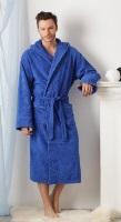 Мужской махровый халат с капюшоном - Морской бриз(№901)