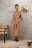 Мужской махровый халат с капюшоном Светло-кофейный(№901)