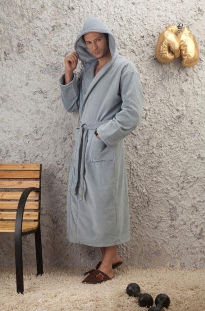 Мужской махровый халат с капюшоном Светло-серый (№380)