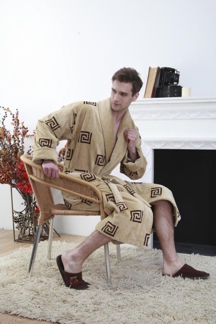 Мужской махровый халат LABERINTO крем