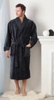 Мужской махровый халат Жаккард Экстра (темно-серый)