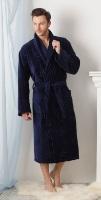 Мужской махровый халат Жаккард Экстра (темно-синий)