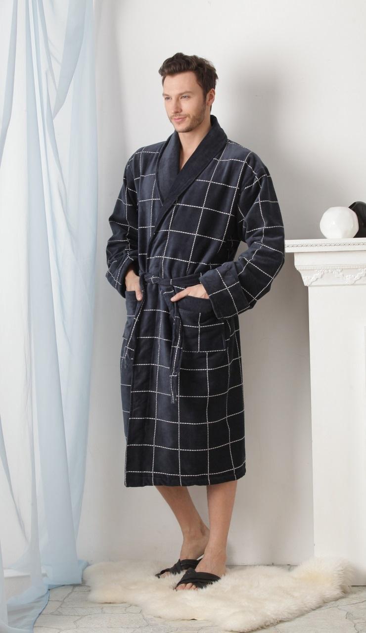 Мужской махровый халат QUATTRO Насыщенно-серый