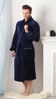 Мужской махровый халат STYLE (синий)