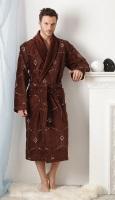 Мужской махровый халат BRODE Plus шоколад