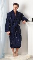 Мужской махровый халат BRODE Plus синий