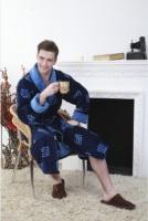 Мужской махровый халат LABERINTO синий