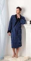 Мужской домашний халат из облегченной махры (367 синий)