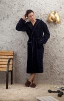 Мужской махровый халат с капюшоном - Глубокое синее море (380)