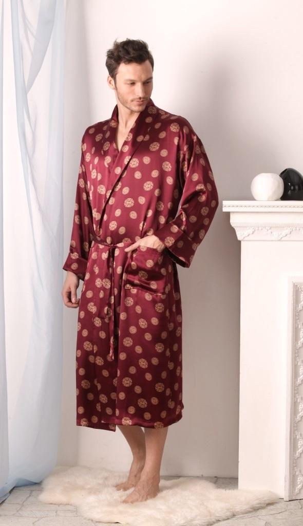 Мужской халат из 100% натурального шелка COSMO Inca (PEACHE MONE France)