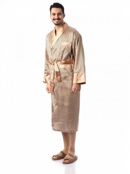 Мужской шелковый халат Джентельмен-6(золотистый)