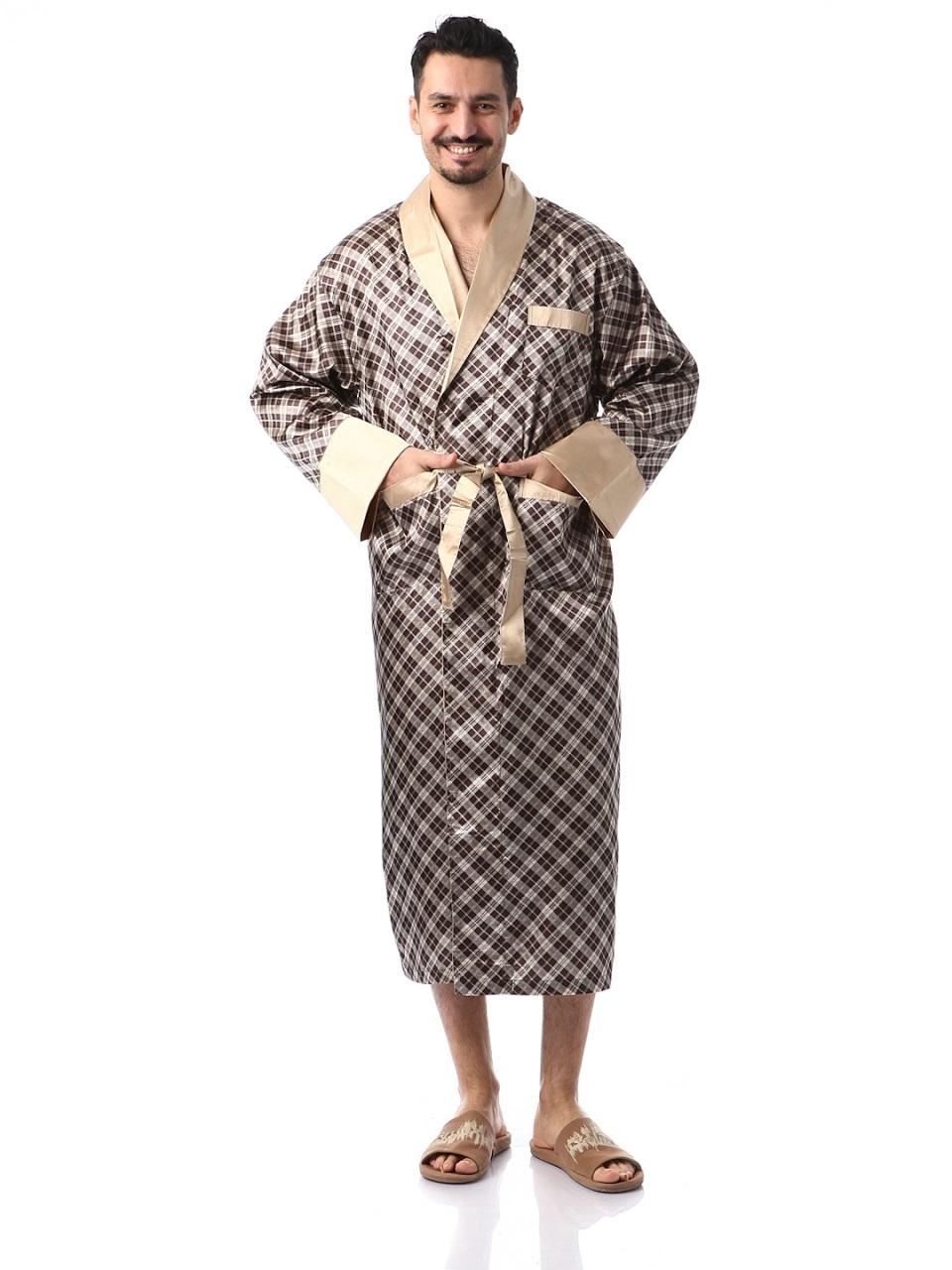 Мужской шелковый халат Джентельмен-2(золотистая клетка)