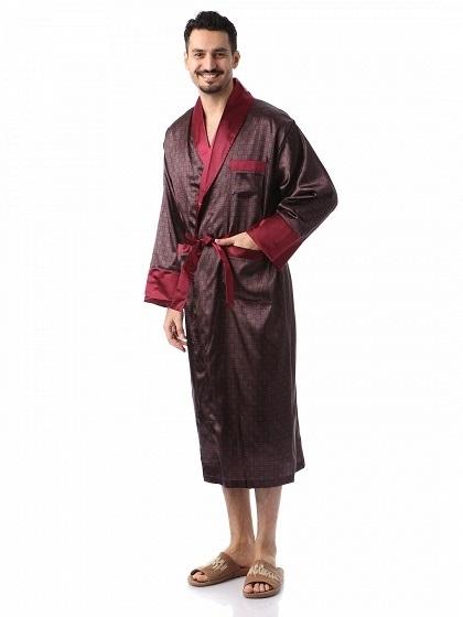 Мужской шелковый халат Джентельмен-8(бордо с синим рисунком)