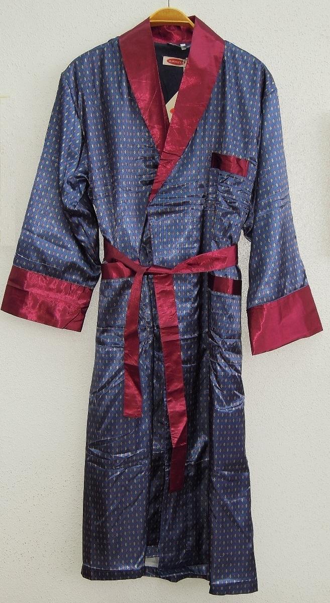 Шелковый халат Донжуан (синий с бордо)