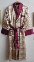 Шелковый халат Джентльмен (золото с бордо)