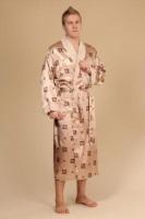Мужской шелковый халат NS 9015-032 золотисто-кремовый шелк