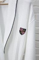 Бамбуковый вафельный халат с вышивкой (10075 яркий белый)- Экстра мягкость!