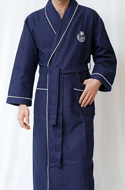 Вафельный халат с вышивкой (10075 синий)- Экстра легкость!