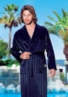 Легкий бамбуковый халат Люкс 12500(синий)