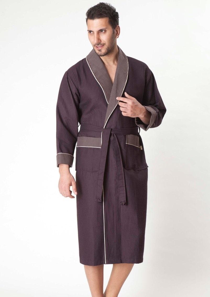 Бамбуковый вафельный халат (15120 шоколад)- Экстра мягкость!